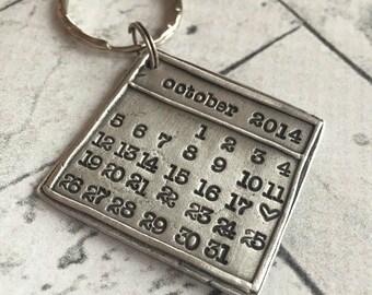 Hand Stamped Pewter Save The Date, Anniversary, Birthdate Calendar Keychain
