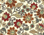 Benartex Fabric - Caravan - Jacobean Floral - Cream - Choose Your Cut 1/2 or Full Yard