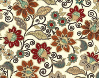 Benartex Fabric - Caravan - Jacobean Floral - Cream - Choose Your Cut 1/2 or Full Yard