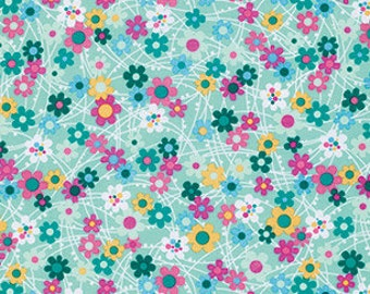 SALE - Erin McMorris - Free Spirit Fabric - Forest Hill - Meadow - Mint - Choose Your Cut-1/2 or Full Yard