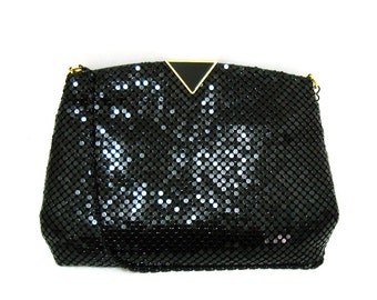 Vintage Black Metal Mesh Shoulder Bag Vtg Evening Clutch Mesh Purse