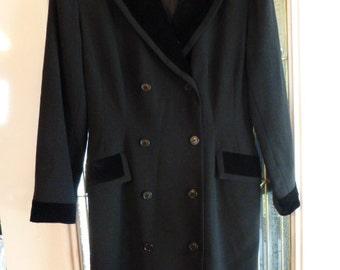 Vintage DKNY Black Wool Coat Dress, Ca. Mid 1980, Pristine