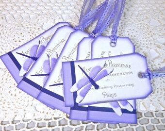 Dragon Fly Gift Tag, Paris Gift Tag, Paris Gift tags, Dragon Fly Hang Tags, Purple Gift tags, Dragon flies, Hand made, Dragon Fly Tags