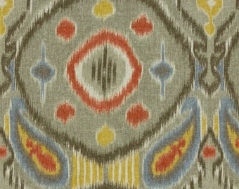 Grey, Red, Blue and Yellow Ikat Pillow Covers in Kravet's Kimmel Mineral