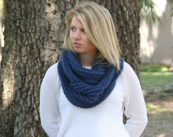 Infinity Scarf Baby Alpaca Cowl Scarf Ribbed Crochet Scarf The London Navy