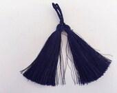 2 pcs thick luxury tassel, mala 3 inch tassel, silk navy blue tassel, boho decorative tassel, jewelry long tassel, satin thread tassel