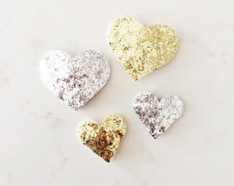 Glitter Heart Hair Clips - gold and silver sparkle snap clips