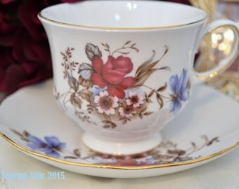 Queen Anne Vintage Teacup And Saucer Set with Red and Blue Flowers, Pattern 8469,  Wedding gift, Mother's Day, c. 1959-1966