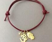 Hamsa Om Sign Citrine Adjustable Leather Bracelet Gold or Silver