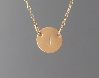 Double Connected Gold Fill Stamped Initial Disc Necklace also in Rose Gold and Silver