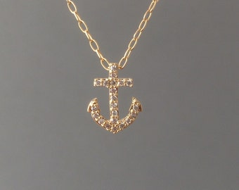 Tiny Gold Anchor Pave Crystal Necklace also in Silver