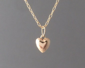 Gold Fill Heart Charm Necklace also in Silver