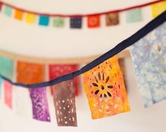 Hand Dyed Batik Fabric Mini Decorative Garland Strand