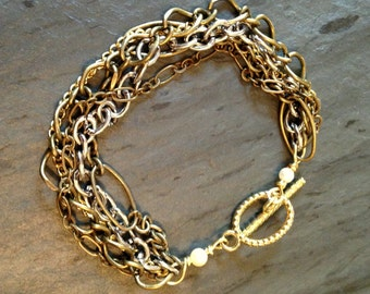 Mixed Metal Multi-Layer Chain Bracelet with Toggle Clasp
