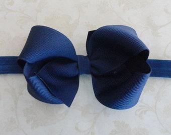 Baby  Bow Headband - 4 inch Navy Blue Grosgrain Ribbon Bow Headband - Girls Twisted Boutique Bow Headband - Navy Bow Headband