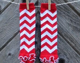 Red & White Chevron Leg Warmers, Baby leg warmers,  Ruffle Leg Warmers, Infant Leg Warmers, Baby leggings, Girls leg warmers, Tutu legwarmer