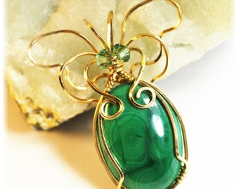Butterfly Jewelry / Collectible Butterfly / Malachite Jewelry / Green Malachite Pendant / Wire Wrapped 14K Gold Filled