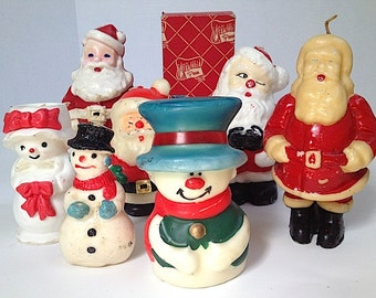 Antique Christmas Candles - Santa Candles, Christmas Home Decor Candles, Snowman Santa Elf Christmas Candles, Mid Century Snowman, Christmas