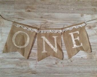 First 1st Birthday One Shabby Chic Burlap Banner Bunting garland