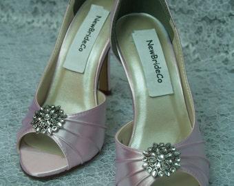 "Pink Satin Heels w Vintage Brooch,Brides Pink Shoes Vintage Brooch more colors, art deco, 1 3/4"" heels, retro peep toe,"
