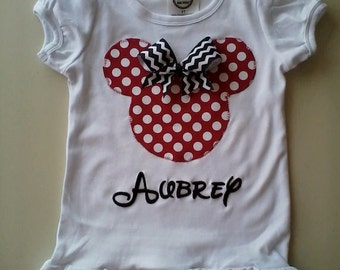 Minnie shirt, red polka dot minnie, applique minnie, chevron, baby girl, toddler, children, minnie mouse outfit monogrammed sz 12m-10