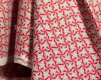 Sugar Rush - Mint Swirls in Red - Josephine Kimberling for Blend Fabrics- 1/2 Yard
