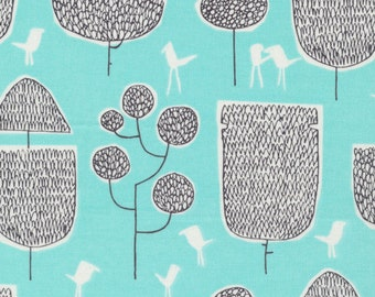 Yoyogi Park - Tokoyo Trees in Turquoise - Skinny Laminx for Cloud 9 - Organic Cotton - 131803 - 1/2 Yard
