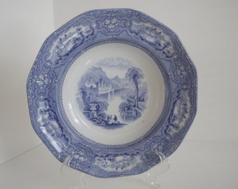 Antique T. Goodfellow Blue & White Transfer, Large Soup Dish, Ironstone Allegheny Pattern, Straffordshire Plate, Made in England