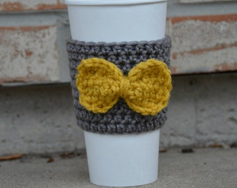 Coffee Cozy with Bow - Coozie - Mustard and Grey - Coffee Cosy - Customizable