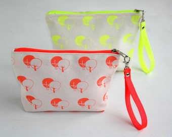 Wristlet pouch neon colors- Small wristlet purse  - Cotton small wristlet bag hand printed tree pattern - Zipper pouch Neon coral and yellow
