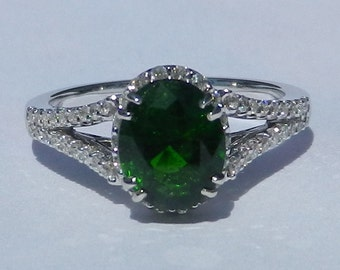 GIA Certified Untreated 1.93 Carat Chrome Diopside & Diamond Ring 14KT Gold W/ Appraisal