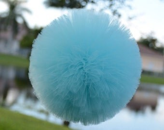 Aqua  tulle poms, party decorations, weddings, baby showers, room decor