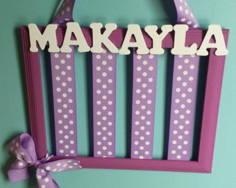 Girl's Hair Bow Holder Frame (Can Be Personalized)