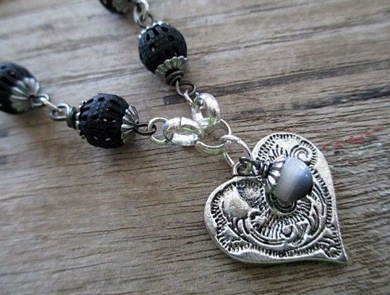 Silver Heart Necklace Handmade Beaded Jewelry Long Boho Black Gray Grey