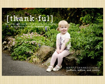 Thanksgiving Photo Card - Thankful definition greetings card
