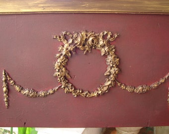 Christmas decor, ornate roses wreath & swags, old wooden salvaged panel, rich wine, burgundy painted, gilt finish