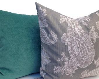Paisley Decorative Pillow Cover 20X20 Home Decor Fabric-Throw Pillow-Accent Pillow-Living Room Pillow-Toss Pillow-Grey
