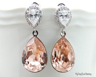 Pink Earrings Crystal Swarovski Teardrop Earrings Rose Earrings Bridesmaids Gift Wedding Jewelry Earrings Dangle earrings Blush wedding