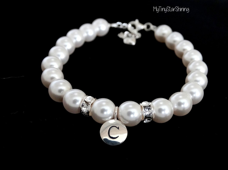 ivory pearl bracelet with initial charm bracelet flower