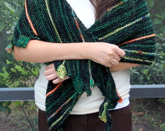 New Hand knit shawl in Hand spun hand dyed green with orange multi color yarn designs, part cashmere
