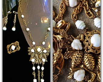 French designer Arthur Freirich1960s signed demi set pinecones leaves and white glass beads necklace earrings, and brooch