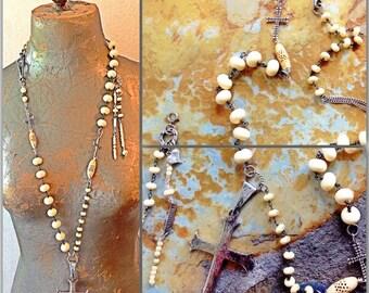 Sterling gratitude cross assemblage huge long statement necklace carved bone beads