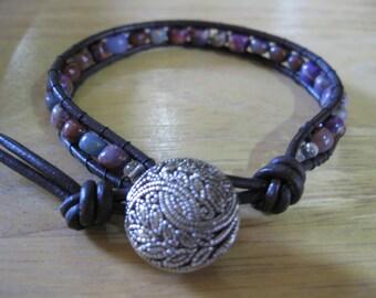 """SALE - Boho Style Single Wrap Gemstone Beaded Leather Bracelet - 6.5"""" - Great Gift Idea"""