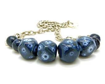 Beaded Boho Necklace Chunky Porcelain, Blue Ceramic Beads, Silver Chain, Blue Necklace, Statement Necklace