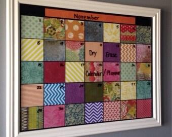 Framed Dry Erase Monthly Calendar Family Organizer Dorm