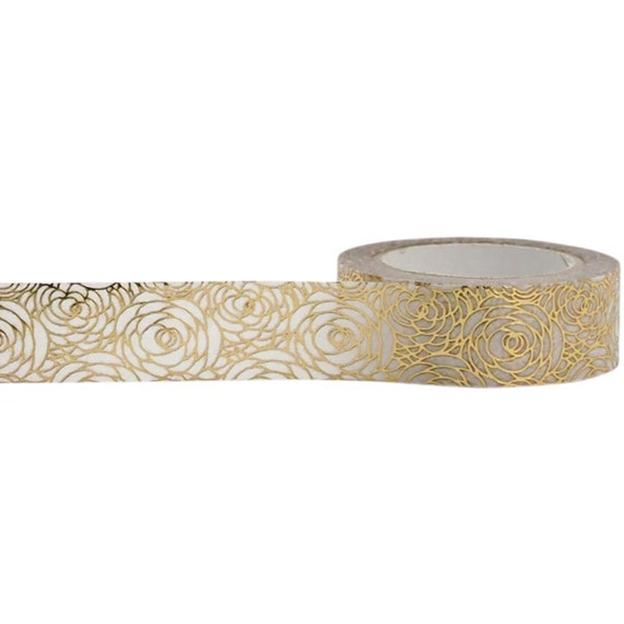 Gold rose foil washi tape with white background 15mm x 10m by for Tape works decorative tape