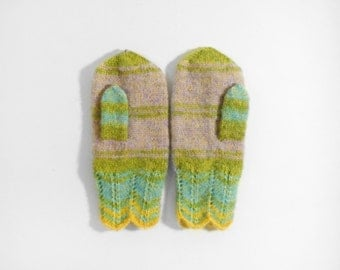 Knitted Mittens - Green, Lilac, Size Medium