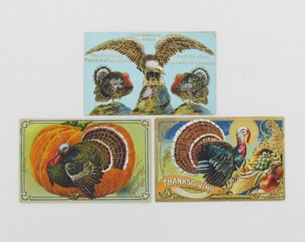 Antique Thanksgiving postcards, lot of 3 embossed postcards, patriotic postcard