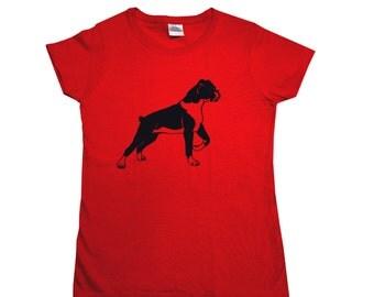 Boxer Screen Printed Women's T-Shirt S M L XL 2XL Dog Shirt
