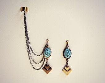 geometric turquoise ear cuff earrings, chains ear cuff, geometric ear cuff, ear cuff with chains, triangle earrings